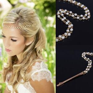 Haarkette Stirnband Perlen Haarband Braut Trachten Wiesn Haarstecker Kopfschmuck