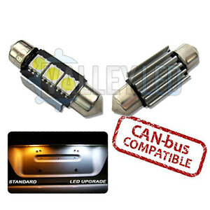 Mini One Cooper 01-06 Bright Canbus White LED Number Plate 36mm C5W 3 SMD Bulbs