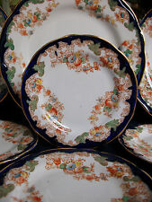 NEW WHARF HARWOOD- FLOW BLUE (c.1908+) BREAD PLATE(s)- RARE! EXCELLENT! GILT!