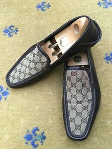 Gucci Mens Shoes Brown Canvas Loafers UK 10.5 US 11.5 45.5 Monogrammed Boating