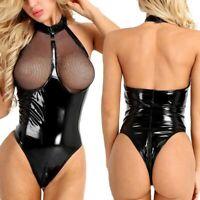 Women Wet Look Leather Mesh Bodycon Lingerie Underwear Bodysuit Sleepwear XMAS