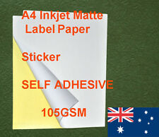 250XA4 Matte 105GSM Label Sticker Adhesive Inkjet and laser Paper (Back Marked)