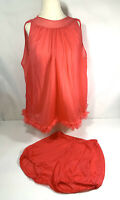 Vintage Sexy 1960's Rogers Tricot Nylon Night Gown & Bottoms Set Coral Sz Medium