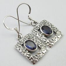 "Bohemian Well Made Jewelry ! 925 Pure Silver Rare Iolite Women'S Earrings 1.3"""