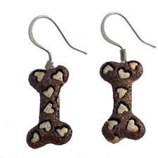 Shimmery Brown & Tan Dog Bone Stainless Steel Wire Dangle Earrings