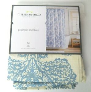 Threshold Quality & Design Fabric Shower Curtain Blue / Ivory Floral 72 x 72