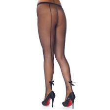 FISHNET SEAMED TIGHTS WITH CUTE BOWS, BLACK, SIZE: ONE SIZE