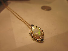 Beautiful Vintage 14K Gold Opal and Diamond Pendent on 14K gold Chain