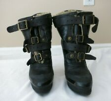 BURBERRY black leather buckled bootie size 38.5 US 8.5