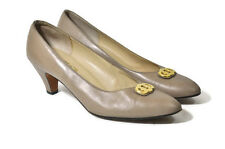 Salvatore Ferragamo Heels Shoes Designer 9.5 AA Florence Gold Tan Leather Italy