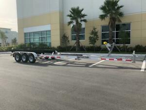 NEW ALUMINUM BOAT TRAILER 15000 LBS - 28 to 30 Ft Boats - TRIPLE TORSION AXLES