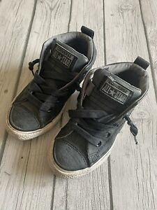 Converse All Star High Tops Boys Shoes Size 12 Gray Black Distressed