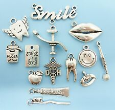 Dental Charm Collection / Lot 14 Tibetan Silver Tone Dentist Charms Pendants