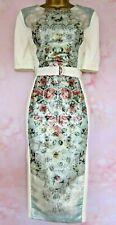 TED BAKER BNWT ~Dorn~ Occasion Dress UK 12 3 Cream Patchwork Floral Midi Stretch