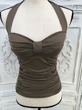 NWOT Size XS Tommy Bahama Tankini Bathing Suit Top Taupe Halter Ruched Retro New