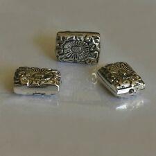 """3 Perles Métal Résine     Pavé Ciselé    """"Argenté""""    8/14/19 mm"""