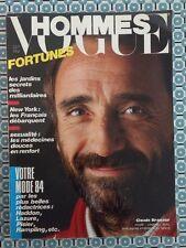 VOGUE HOMMES 66 Fev 1984 Claude Brasseur Fortunes Milliardaires Mode