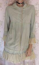 Rare! BROGDEN Suede Silk Vtg Crochet Lace Frill Ruffle Jacket Coat Light Green S