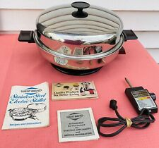 "Vintage West Bend Electric Skillet Oil Core 11"" Stainless Steel Manual Cookbook"