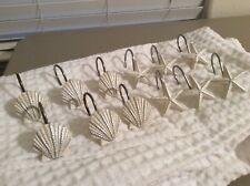 12 Beautiful White Ivory Starfish & Seashells Nickel Shower Curtain Hooks