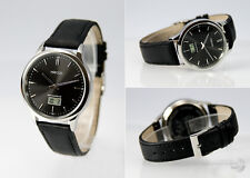 Elegante Herren Funk Armbanduhr (deutsches Funkwerk) Edelstahl Leder 983.4803