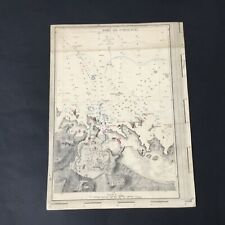 Carte Maritime du Port de Pontusval XIXè Bretagne French Card 19thC
