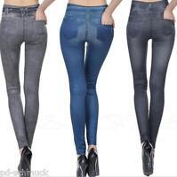Damen Hose Leggins Leggings Jeggins Jeans Schau mit Tasche Stretch M16349