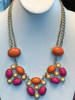 Vintage Bright Pink Orange Tam Bib Statement Necklace Cluster Double chain gold