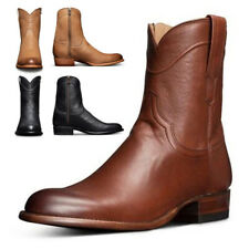 Men's Winter Warm Boots Ankle Zip Short Calf Booties Low Flat Heel Shoes Size