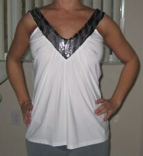 LIPSTICK WHITE DRESSY TANK TOP WITH SILVER/BLACK SEQUIN COLLAR SIZE S