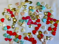 160 Satin LOVE Heart Embellishments - 8 different colours - Approx 18mm x 18mm