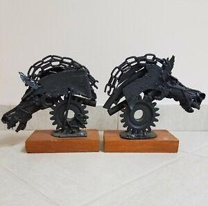 Set 2 Horse Head Heads Scrap Metal Welded Art Steampunk Brutalist Chains Bolts