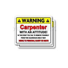 Carpenter Warning Decal Plumbing Heating Hard Hat Window 2 pack Stickers mka