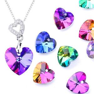 10X Love Heart facing glass crystal bead Pendant Rainbow AB gloss Christmas gift
