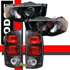 02-05 Dodge Ram 1500 2500 3500 Pickup Black  Headlights + Tail Lights
