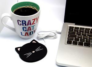 Black Cat USB Heat Heater Coaster Tea Coffee Mug Warmer Home Office Cup Mat Pad