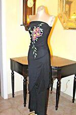 VINTAGE  STRAPLESS  JUMPSUIT  PANT  DRESS WITH APPLIQUE  FLOWERS  /XS/S