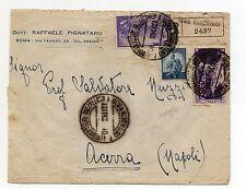 STORIA POSTALE 1948 REPUBBLICA 3 VALORI SU RACC/EX ROMA 12/11 D/8703