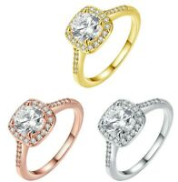 2.50 CT 14k GOLD Plated Diamond Cut Pave Halo Ring with Swarovski Crystals ITALY