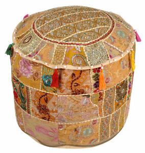 Indien Patchwork Round Pouf Ottoman Cover Foot Stool Moroccan Pouffe Cover