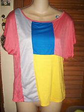 "Urvana~NWT's sz L Coral blue yellow color block"" latter ""Back dolman sleeve top"