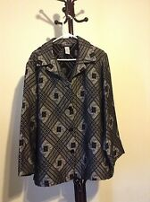 SAG HARBOR women's gray black pattern button down jacket coat size 18W