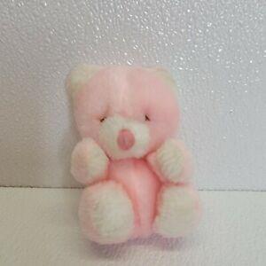 Rare Vintage Russ Berrie Pink White Teddy Bear Eyes Closed Plush Stuffed Animal