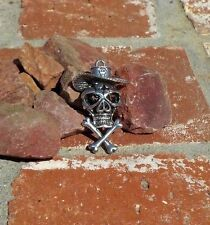 DAY OF THE DEAD 2 SIDED SILVER SKULL WITH SOMBRERO PENDANT WITH FREE SHIPPING