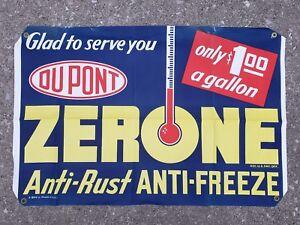 Vintage NOS Dupont Zerone Antifreeze Canvas Banner Sign Gas Station Oil Garage
