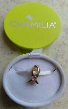 Genuine chamilia sólido 14 CT Oro Cancer Awareness Rosa Pulsera Encanto LD-37