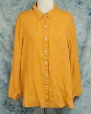 J Jill Womens sz L Petite LP Orange Linen Long Sleeve Button Down Top
