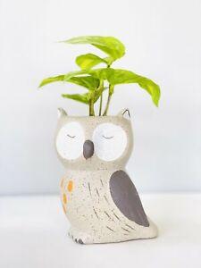 Ceramic Barn Owl Pot Planter Bird Design Plant Container, 9x13cm