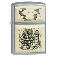 Zippo lighter Street Chrome™ Scrimshaw Ship 29397