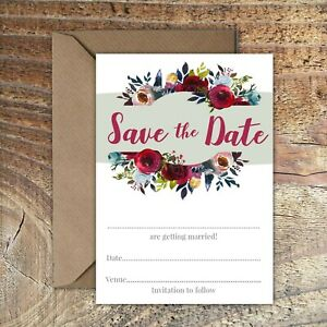 SAVE THE DATE BLANK WEDDING CARDS Burgundy, Red & Blue floral PK 5
